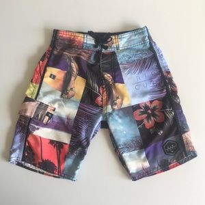 Boys Rip Curl Board Shorts tie up Velcro Size 8